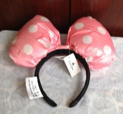 New w/tag disney parks minnie mouse ear headband puffy pink white polka dot ears