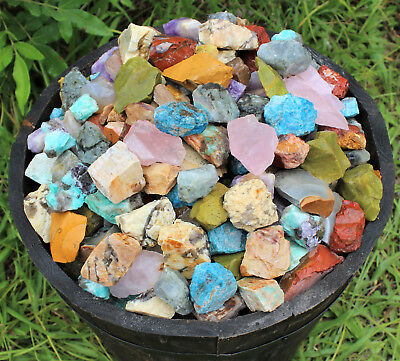 1/2 lb Bulk Lot Africa Madagascar Mix (Natural Rough Raw Tumbling Rocks 8 oz)