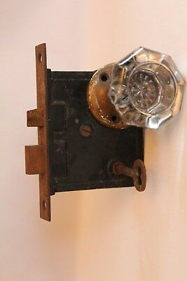 Antique Vintage Glass Handle Door Knob Set With Lock Set Hardware & Key