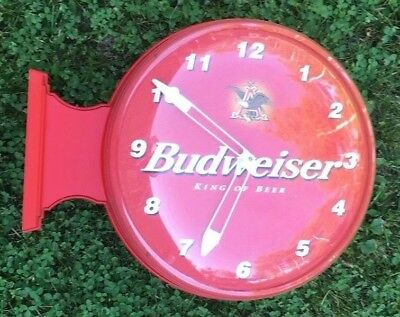Budweiser Clock Bar Beer 2 Sided Anheuser Busch Red Eagle Pedestal 1999