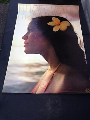 1976 Travel Poster Advertising Hawaii Visitors Bureau Printed USA Beautiful Girl