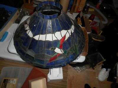Vintage Stained Glass Swag Hanging Lamp shade  Birds in Flight