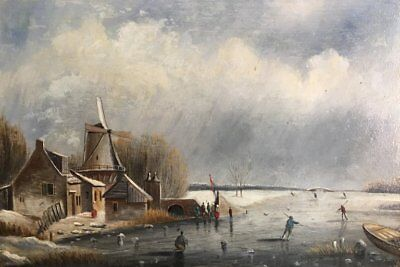 Fine 19Th Century Dutch Winter Frozen River Ice Skating Oil - Christies Prov.