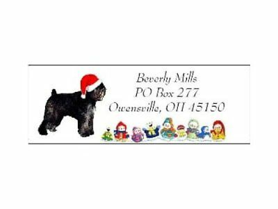 Christmas address labels Bouvier des Flandres LASER snowpeople design