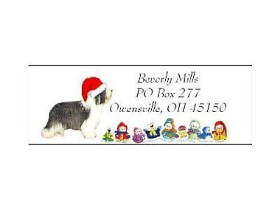 Christmas address labels Bearded Collie WATERPROOF snowpeople design