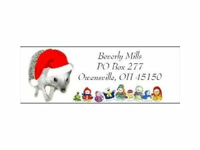 Christmas address labels Hedgehog Christmas WATERPROOF snowpeople design