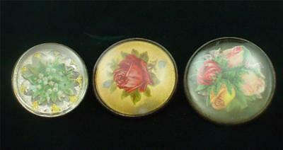 Lot of 3 Glass & Brass Bridle Rosettes Roses Flowers