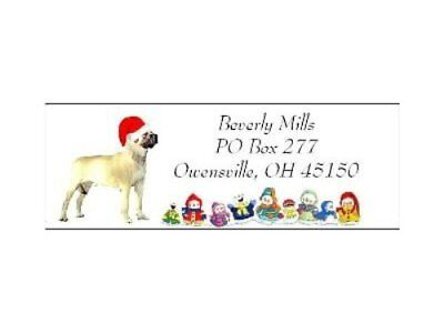 Holiday address labels Mastiff Christmas dog WATERPROOF snowpeople design