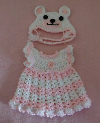 Wellie Wishers Doll Clothes Pink Bear Dress & Hat Fits American Girl 14.5