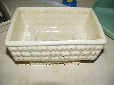 "Vintage White Harringbone Planter McCoy? Hobnail 4.5"" Tall X 8"" Wide X 5"" Deep"