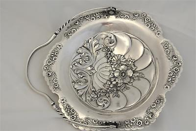 Reed Barton Silverplate Embossed Repousse Floral Design Cake Stand Bridebasket