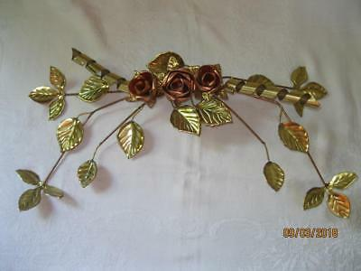 Vintage Home Interior HOMCO Wall Decor Brass Leaves Copper Roses Metal Sculpture