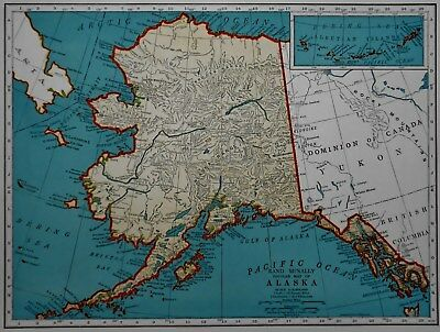 L@@K! Vintage 1940 World War WWII Atlas Colored Map Alaska AK & Wyoming WY OLD