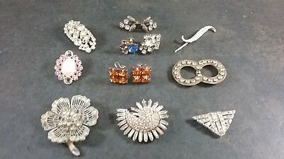 Lot Of Antique & Vintage Rhinestone Pins Earrings 13 Pcs Some Wearable