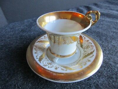 Vintage Antique Cup & Saucer Set, Unmarked Set With Feet, Bone China,  Man-02527