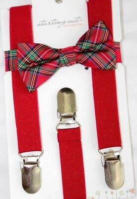 Boys Red Tartan Plaid  Bow Tie & Suspender Set 1 To 5T ~ New