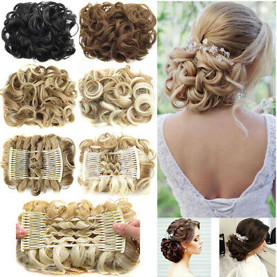 AU Seller Wedding Party Big Bun Chignon Comb Clips in Hair Extension Hairpieces