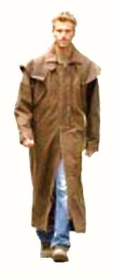 HAND MADE100% REAL LEATHER Brown DUSTER Trench / Riding Coat  mans mens