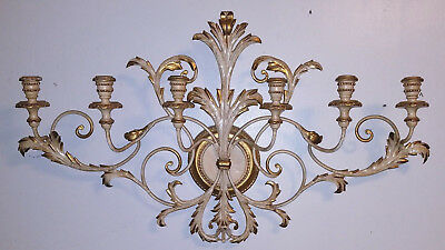 "Antique Italian Tole Ware Wall Candelabra 6 Arm Sconce 38"" Hollywood Regency"