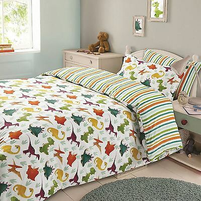 Dinosaur Single Duvet Cover Set Childrens Bedding Stripes Multi 2 Designs In 1