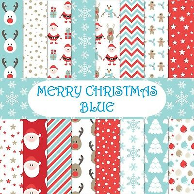 MERRY CHRISTMAS - BLUE CHRISTMAS SCRAPBOOK PAPER - 16 x A4 pages .