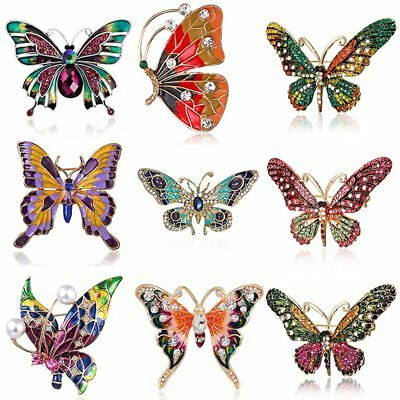 Wholesale Crystal Butterfly Insects Brooch Pin Womens Charm Costume Jewellery