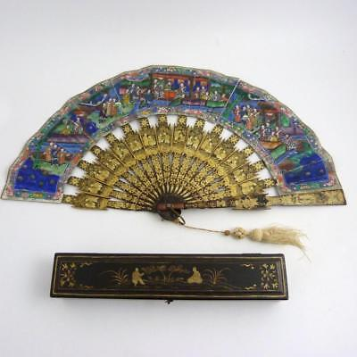 19th CENTURY CHINESE GILT LACQUERED & HANDPAINTED PAPER FAN IN BOX