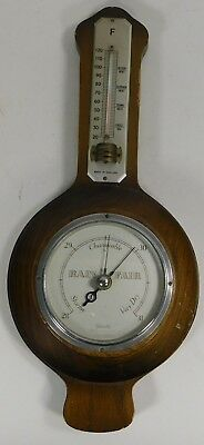 Vintage Wooden Barometer with extended temperature section