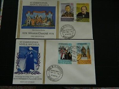 St Christopher Nevis Stamps SG 307/310  4 on 2 FDC Birth Cent Sir Winston 1974