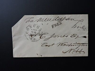 1861 Congress Free Frank Signed Mason Tappan ! Nh Civil War Captain Putney Cover