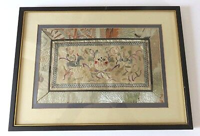 Fine Quality Antique Chinese Silk Embroidery Panel In Frame