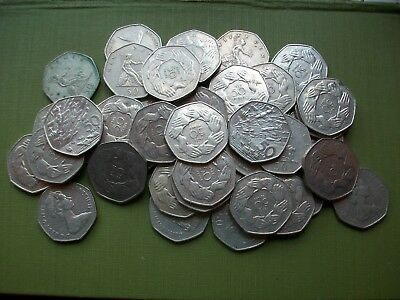 42 Old Large £0.50P Coins: £21.00 Total Face Value.