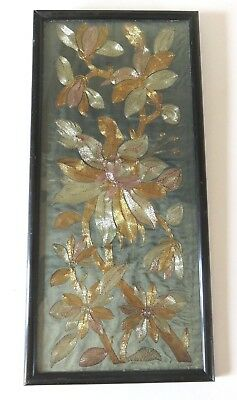 Antique Vintage Chinese Metallic Thread Embroidery Panel In Frame Sleeve ?