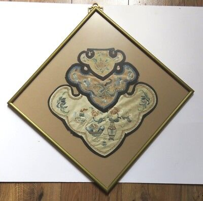 Antique Vintage Chinese Embroidery Silk Collars In Frame