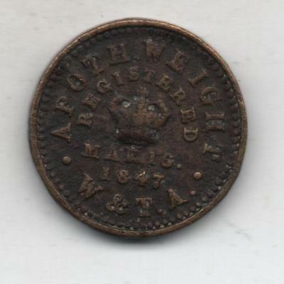 US Vintage Apothecary Weight 2 Drams Token Coin W. & T. A. Registered 1847