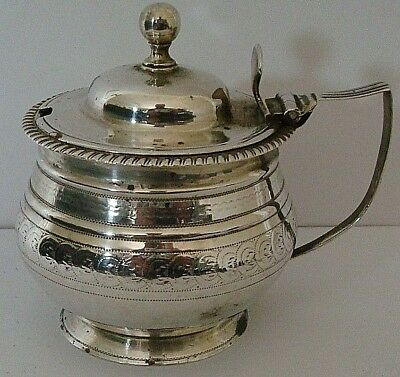 Vintage Geo Iii Large Sized Solid Silver Bright-Cut Decorated Mustard Pot