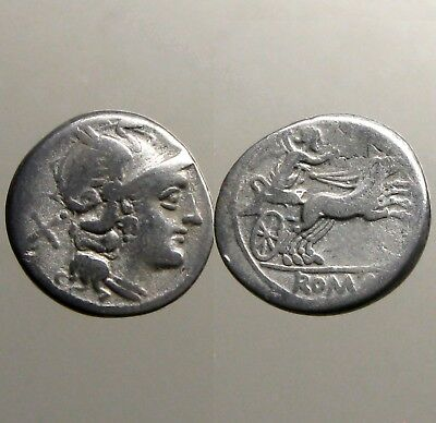 ANONYMOUS SILVER DENARIUS___Roman Republic___VICTORY IN BIGA___Early Type