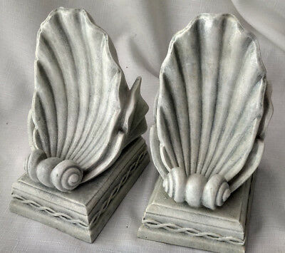 SPI Home San Pacific Intl San Francisco Shell Bookends Antique-Style Deco VTG