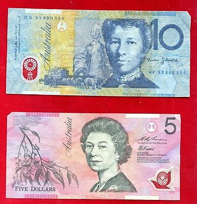 Australia $15.00 Circulated Currency Two Notes
