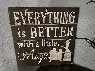 Halloween Primitive Vintage Style Magic Witch Potion Wall Sign Decor 11.75