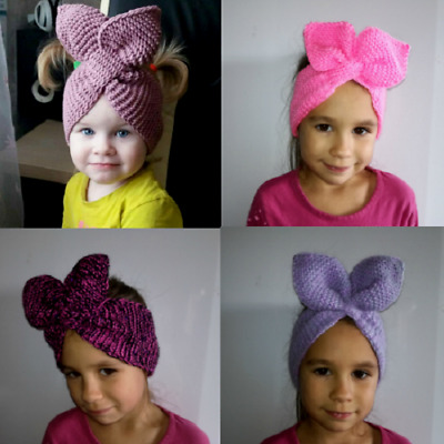 Baby Girls Headband Hat Handmade Knitted Pink Autumn Winter Accessories Turban