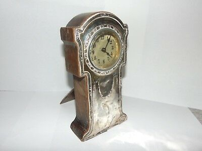 ANTIQUE EDWARDIAN c1900 SILVER FRONT WOODEN CASED MANTLE CLOCK