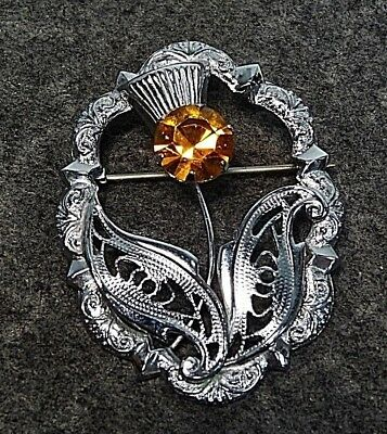 Vintage Scottish Jewelry Signed MIZPAH Silver Rhinestone Thistle Kilt Pin