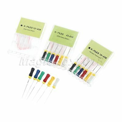 6Pc Dental Root Canal K-File 25mm 15-80# Hand Use Endodontic File Niti/Stainless