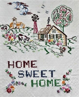 Sweet Home Country House Floral Finished Completed Vtg Hand Embroidery Sampler
