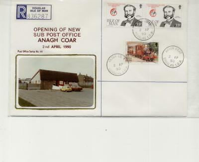 Isle of Man 1990 Anagh Coar Registered Cover from Opening Day