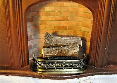 Metal Grate, Real Logs & Classic Brass Fender For Your Dollhouse Fireplace