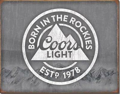 Coors Light Beer Born In The Rockies Tin Metal Bar Sign NEW by Desperate Ent.