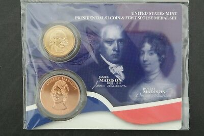 United States Mint Presidential $1 Coin & First Spouse Medal Set - Madison