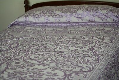 """Antique Lavendar & White Damask Bedspread Made In Italy 103"""" By 88"""""""